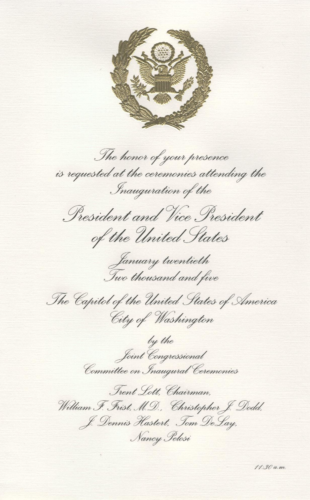 George W. Bush 2005 Official Inaugural Invitation
