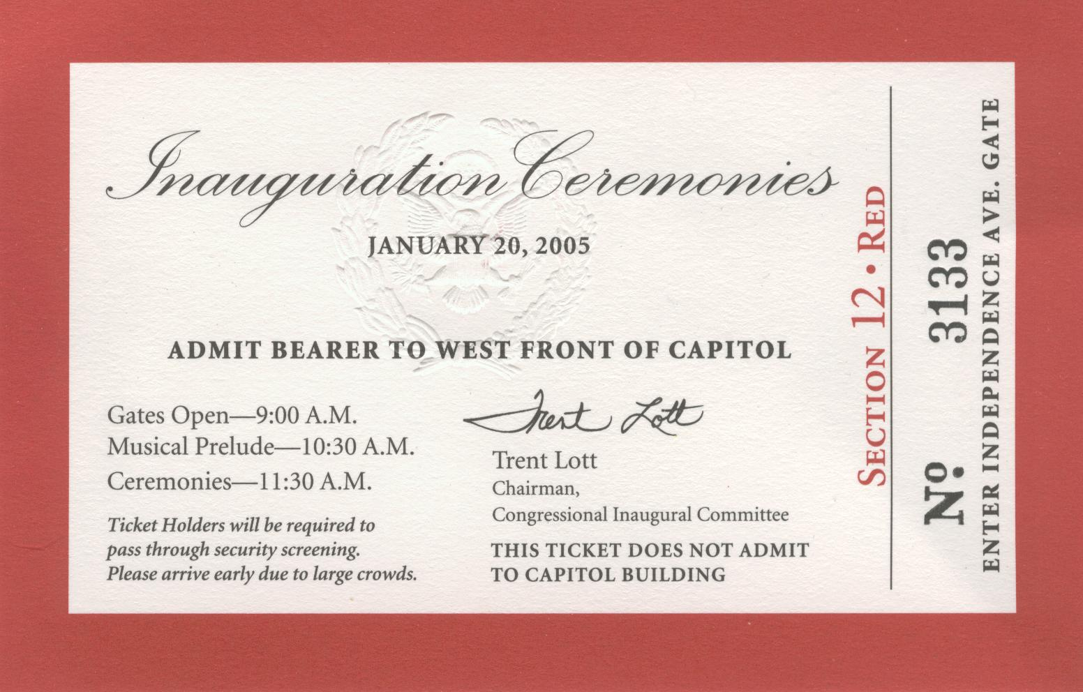 George W. Bush 2005 Official Inaugural Ticket  (Obverse)